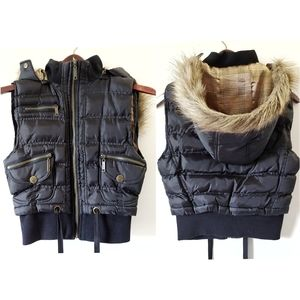 Tokyo Collection faux fur lined hooded puffer vest
